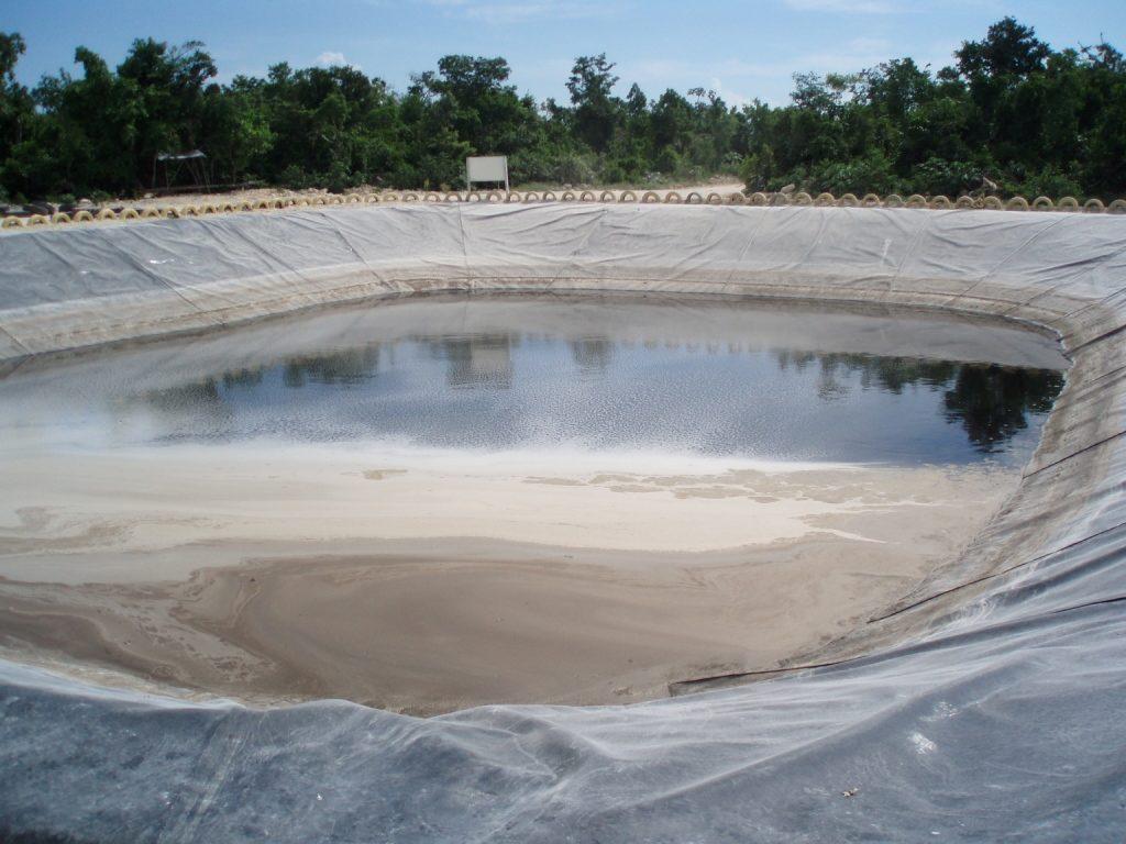 A large pond liner with pond liner