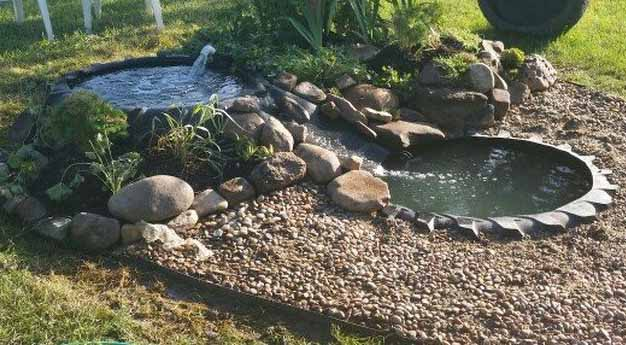 A completed tractor tire pond