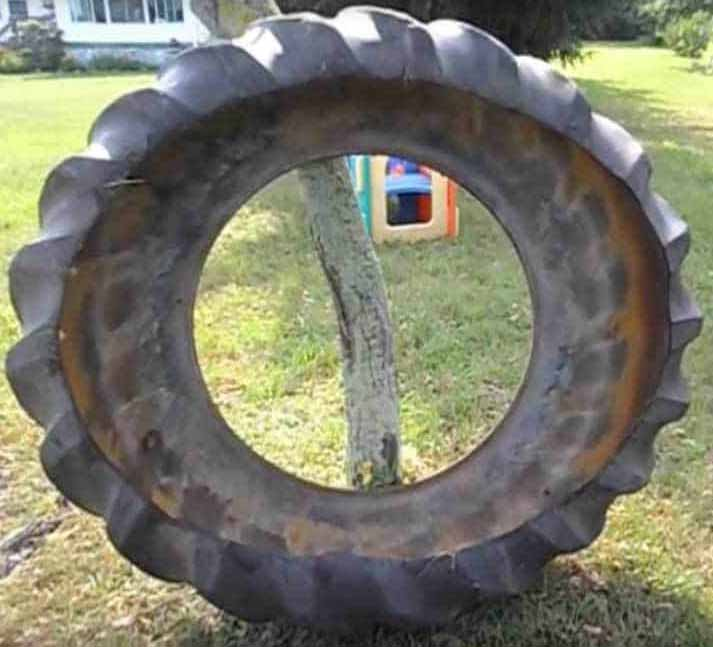 A shaped tractor tire for building pond